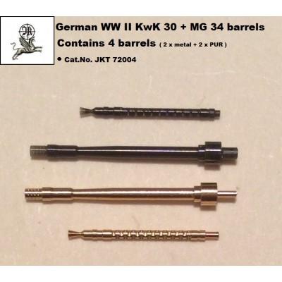 1/72 German WW II KwK 30 + MG 34 barrel ( 2 x metal + 2 x...