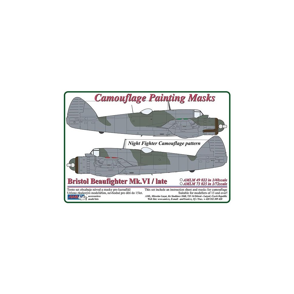 Bristol Beaufighter Mk.VI / Late – Night Fighter Camouflage Painting  Masks