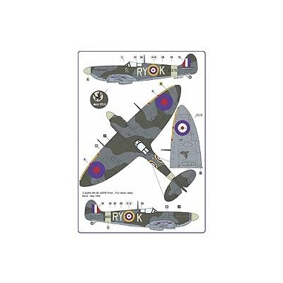The Spitfire Mk. IA and VB decals with the drawings of the 313th  RAF Squadron