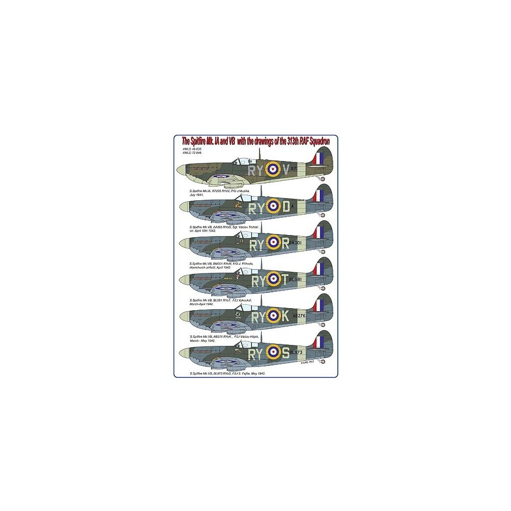 spitfire decals. the spitfire mk. ia and vb decals with drawings of 313th raf squadron