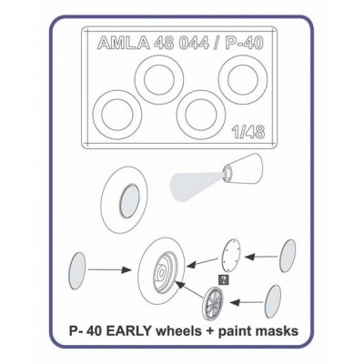 P-40 EARLY wheels + paint masks