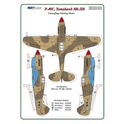 1/32 Curtiss P -40C, Tomahawk Mk.IIB - Camouflage Painting  Masks