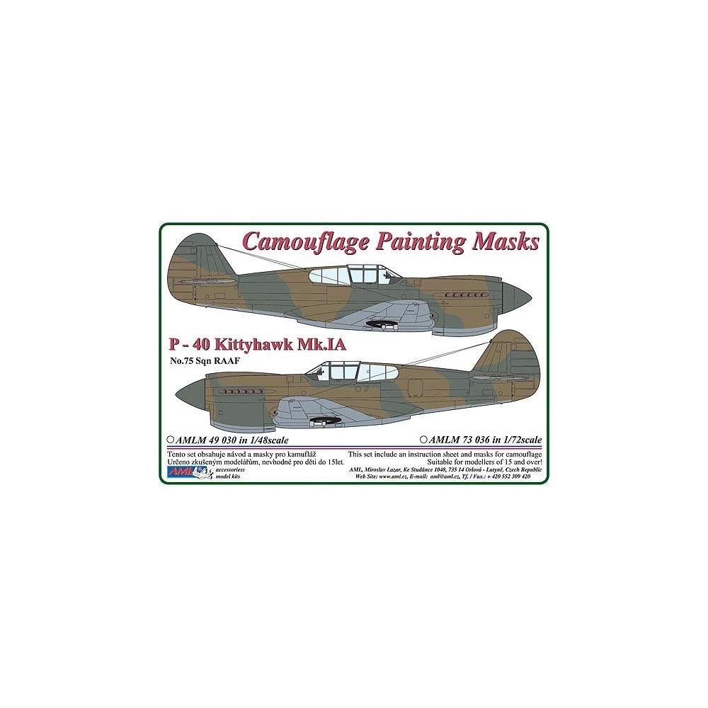 1/48 Curtiss P -40 Kittyhawk Mk.IA - Camouflage Painting  Masks