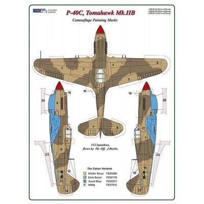 1/72 Curtiss P -40C, Tomahawk Mk.IIB - Camouflage Painting  Masks