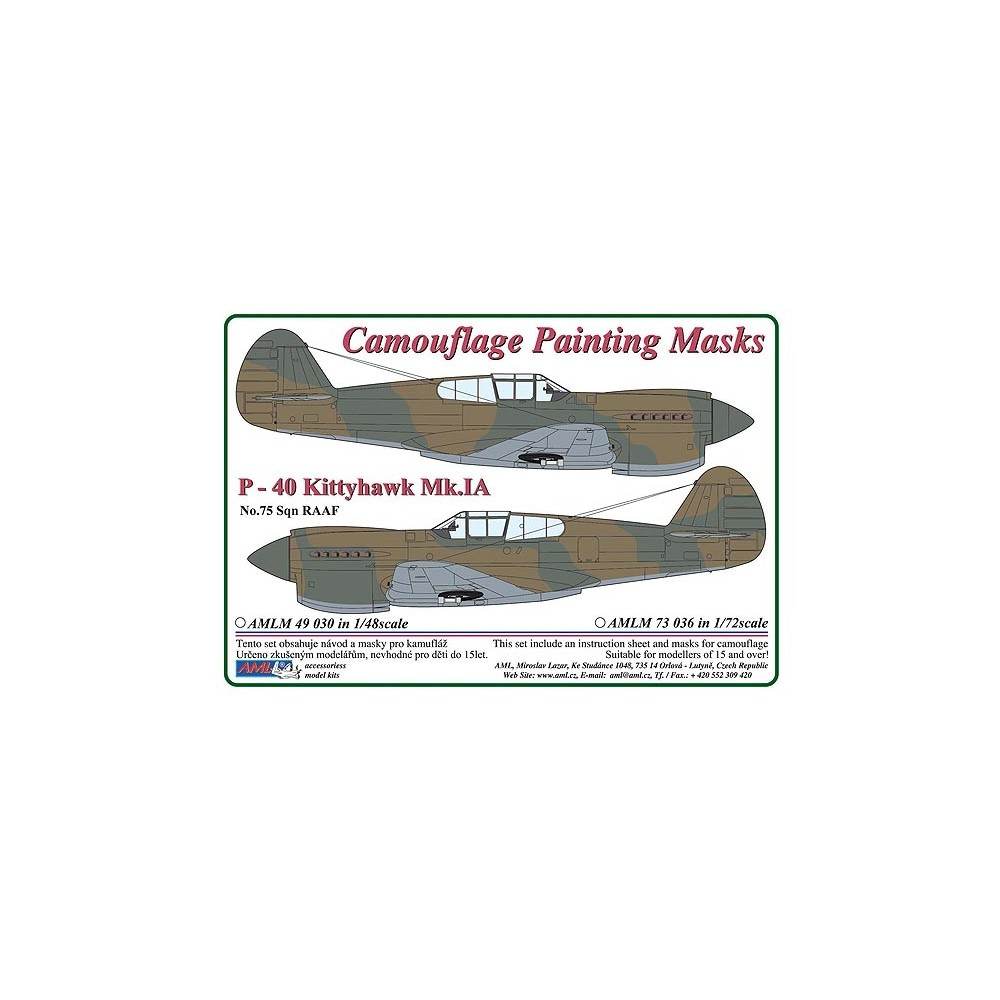 1/72 Curtiss P -40 Kittyhawk Mk.IA - Camouflage Painting  Masks