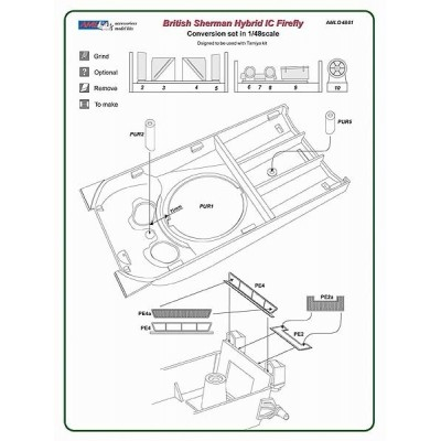 1/48 Polish Sherman Firefly Ic Hybrid conversion set