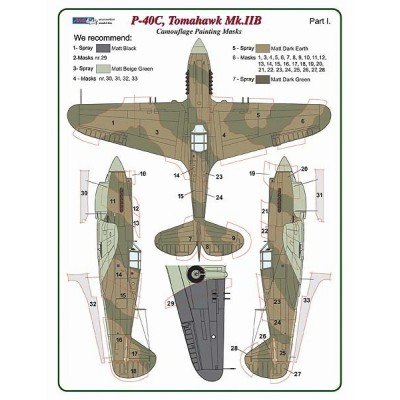 1/48 Curtiss Tomahawk Mk.IIB / Part I  - Camouflage Painting  Masks