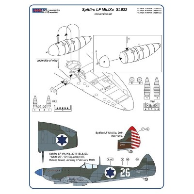 1/72 Spitfire Mk.IXe with Germany fuels - Israelian AF